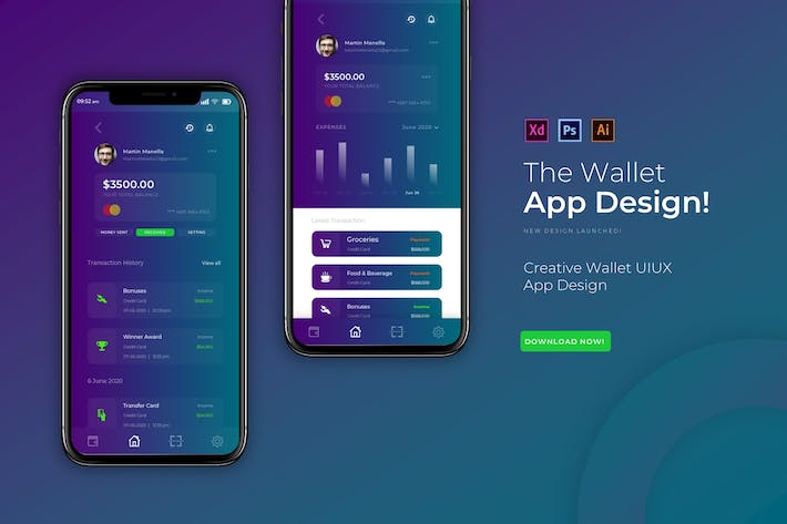 Thumbnail for The Wallet | App Design Template