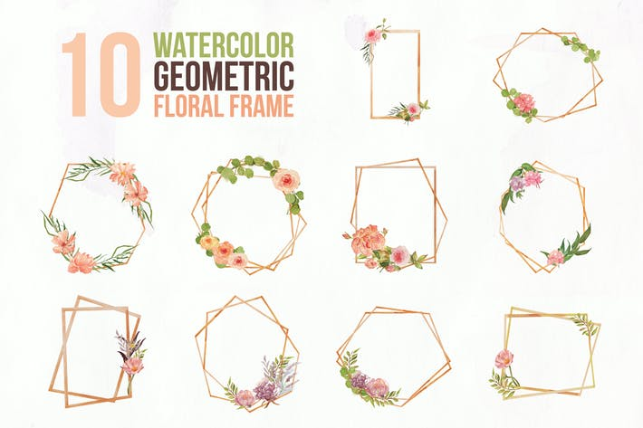Thumbnail for 10 Watercolor Geometric Floral Frame Illustration