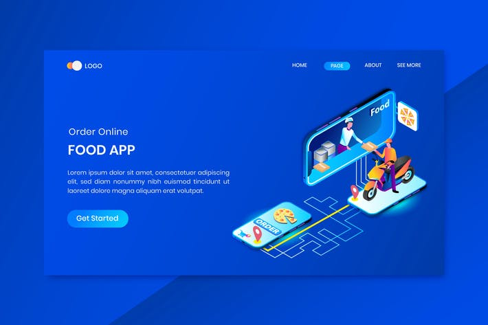 Cover Image For App Fast Food  Delivery Services  Isometric Concep