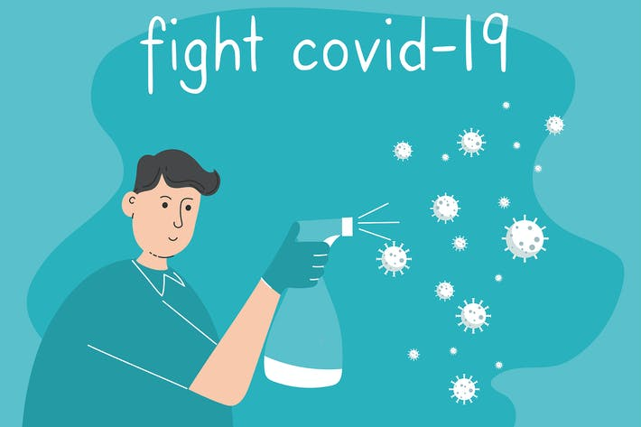 Vector of doctor protect from coronavirus.