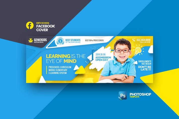 Thumbnail for Geniekids School Facebook Cover Photoshop Template