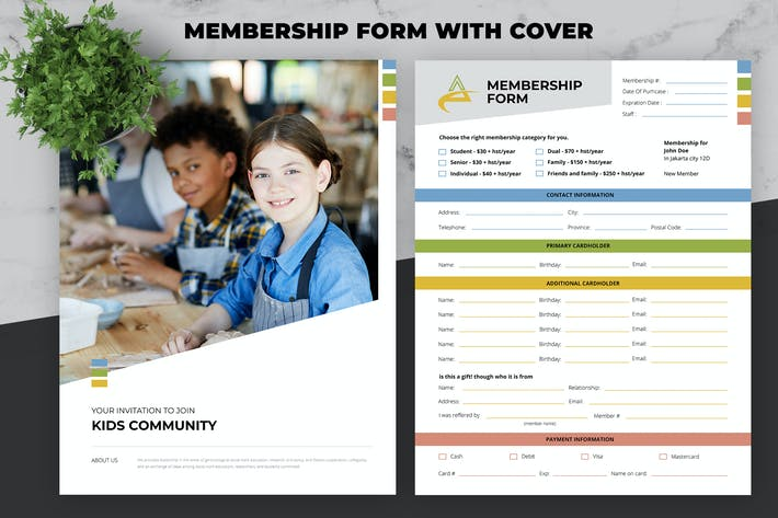 Thumbnail for Membership Form with Cover For Multipurpose