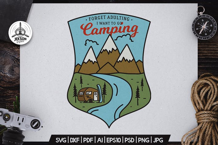 Thumbnail for Camping Hiking Badge Vector Retro Graphic Logo