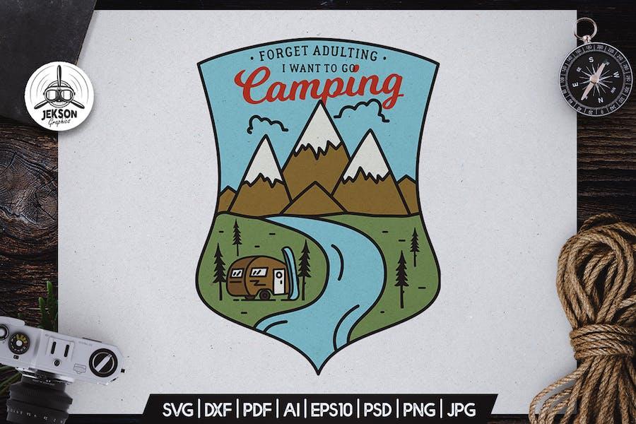 Camping Hiking Badge Vector Retro Graphic Logo