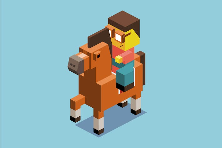 Thumbnail for Riding horse in 3D Pixelate