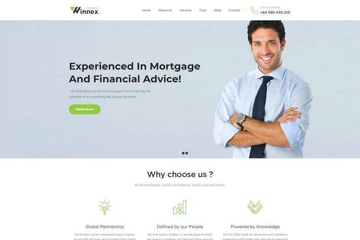 Thumbnail for Winnex - Business Consulting WordPress Themes