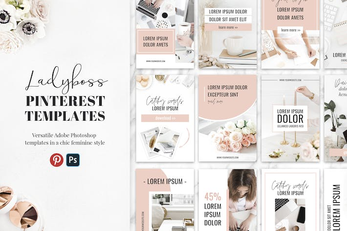 Thumbnail for Ladyboss Pinterest Templates