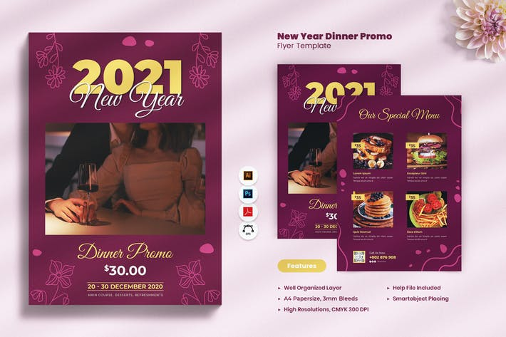 New Year Dinner Promo Flyer