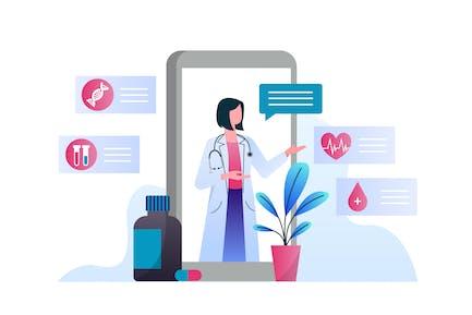 Online Doctor Consultation Vector Illustration