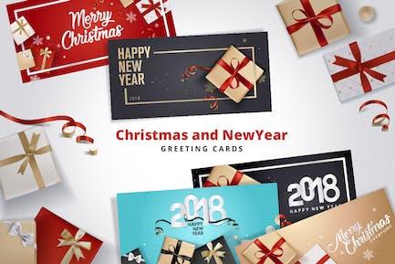 Kit de tarjetas de felicitación de Navidad y Año Novedad