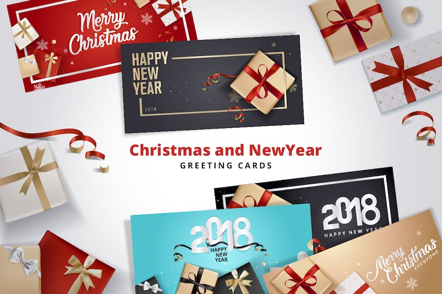 Set of Christmas and New Year's Greeting Cards