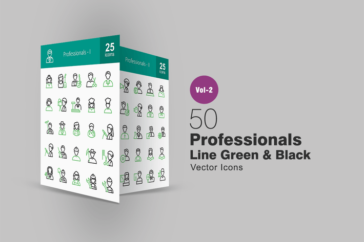 Thumbnail for 50 Professionals Line Green & Black Icons
