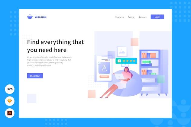 Shop From Home - Website Header - Illustration