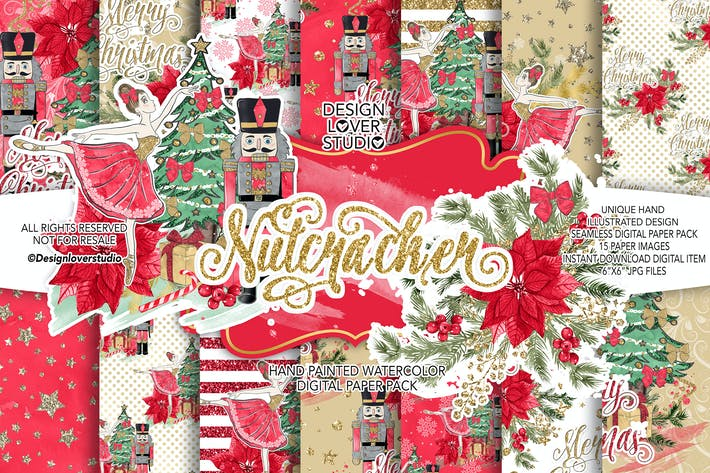 Thumbnail for Nutcracker Red digital paper pack