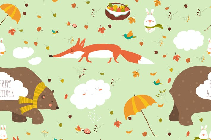 Thumbnail for Vector autumn forest seamless pattern