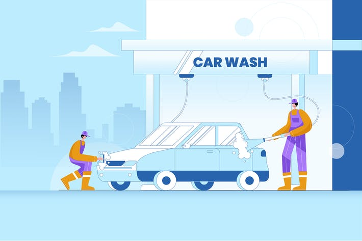 Thumbnail for Car Wash Service - Vector Illustration