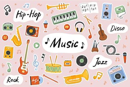 Music Cute Stickers Set