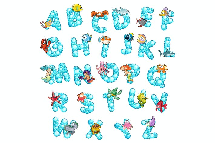 Thumbnail for Alphabet with fish and bubbles.