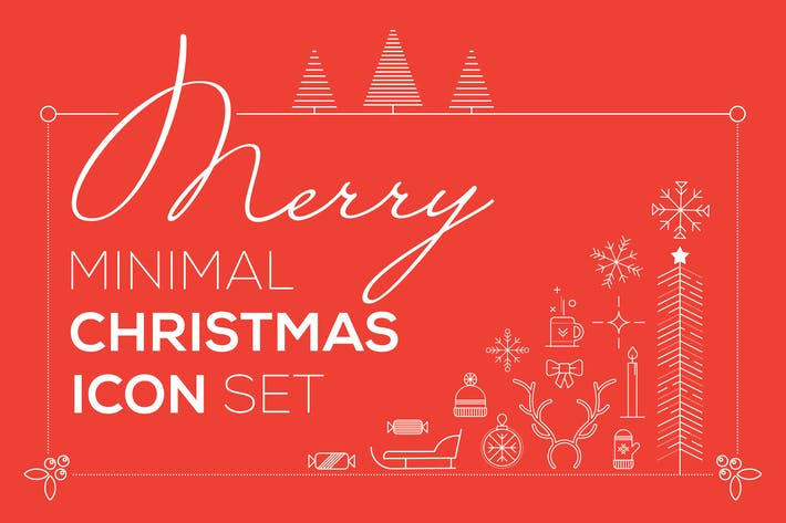 Thumbnail for Merry Minimal Christmas Icon Set