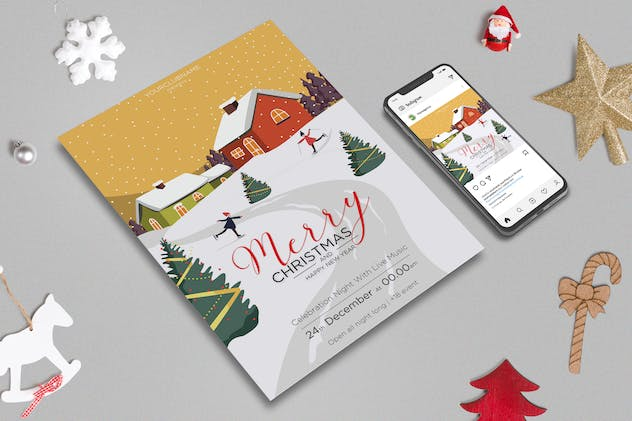 Merry Christmas Flyer & Banner Post Design