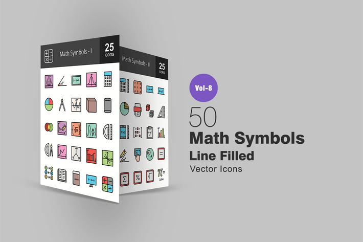 Thumbnail for 50 Math Symbols Line Filled Icons