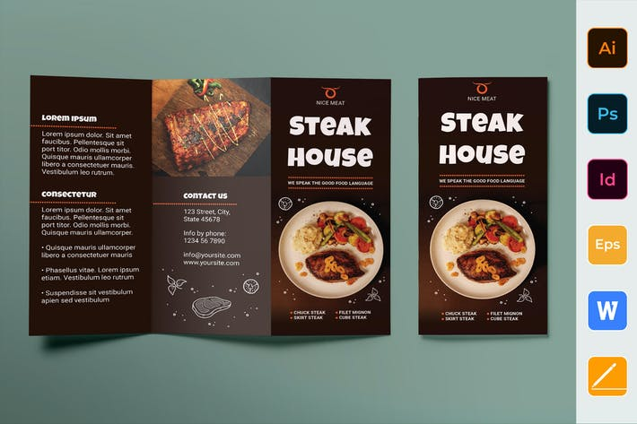 Thumbnail for Steak House Brochure Trifold
