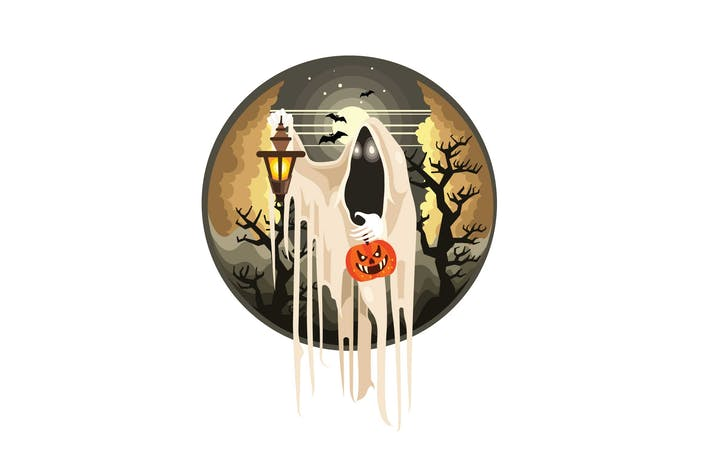Thumbnail for Ghost with Lantern Halloween Character