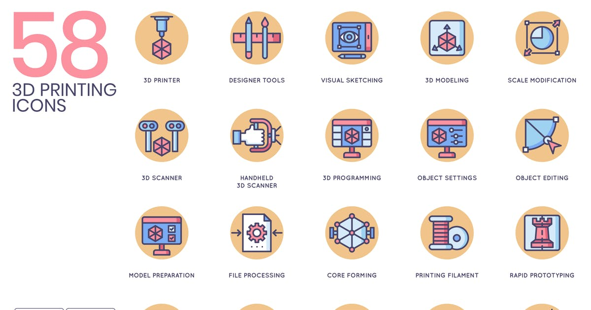 58 3D Printing Icons - Butterscotch Series by Krafted