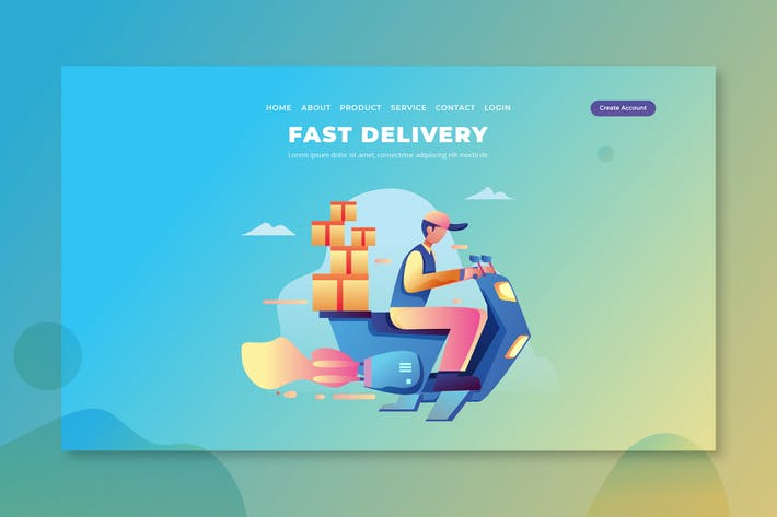 Fast Delivery - PSD and AI Vector Landing Page