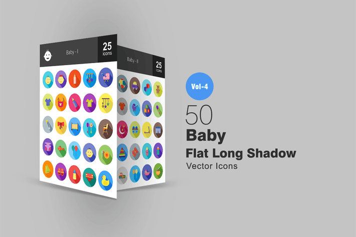 Thumbnail for 50 Baby Flat Shadowed Icons