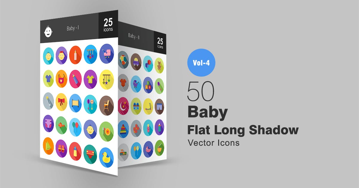 Download 50 Baby Flat Shadowed Icons by IconBunny