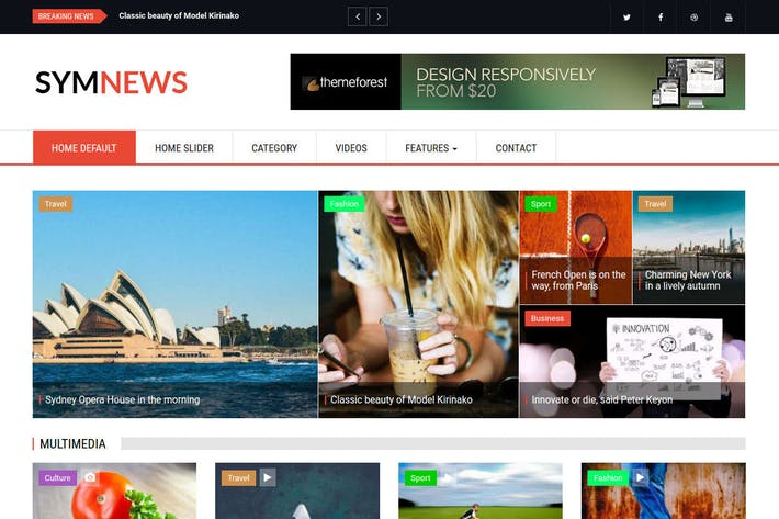 Thumbnail for SymNews - News & Magazine Drupal 8 Theme