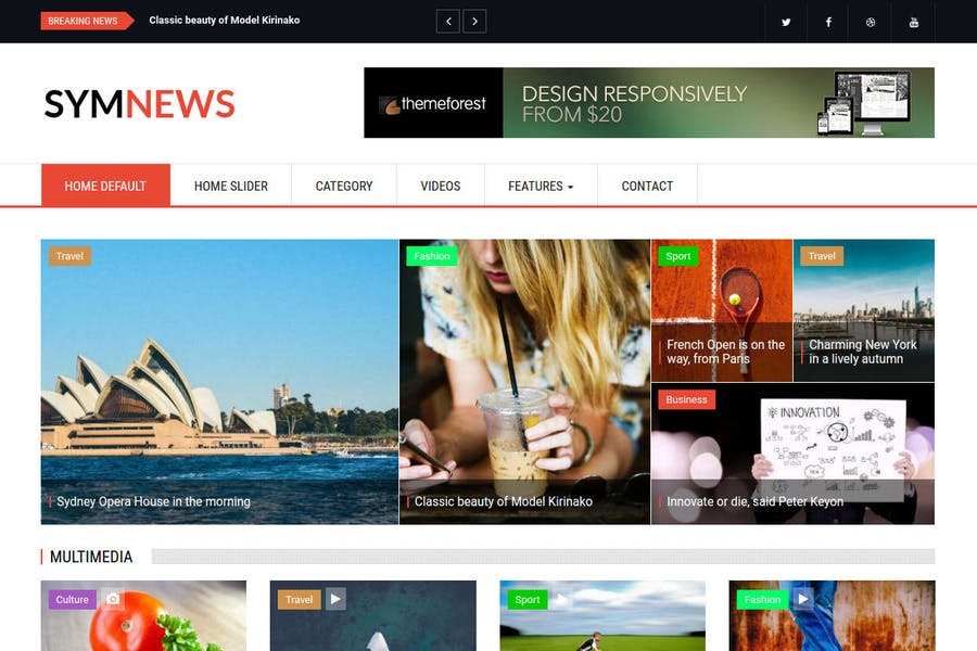 SymNews - News & Magazine Drupal 8 Theme
