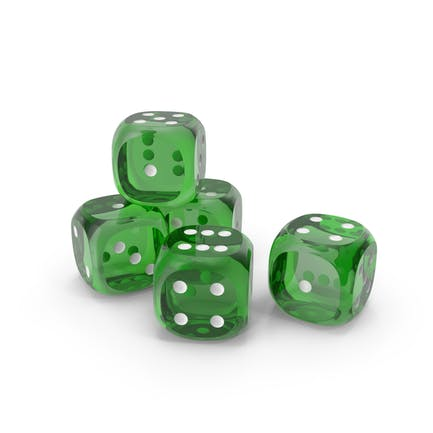 Dices Transparent Green White