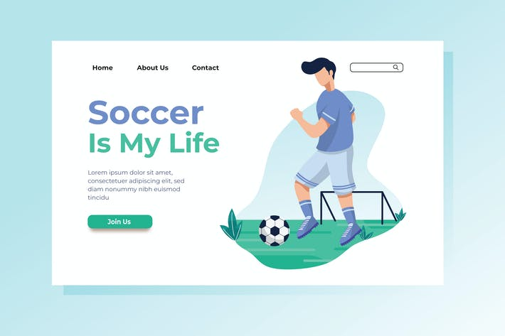 Thumbnail for Soccer is My Life Landing Page Illustration