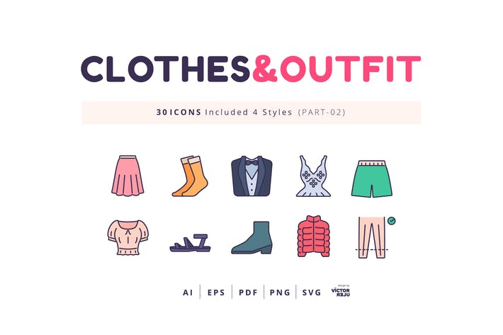 Thumbnail for 30 Icons Clothes&Outfit Part-02 Lineal Color Style