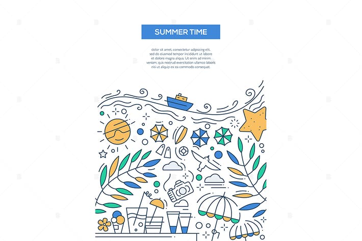 Thumbnail for Summer Time - line design style banner