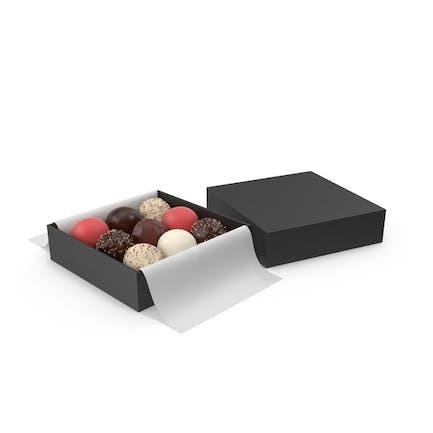 Black Square Box with Chocolates