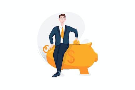 Businessman put a coin into a large piggy bank