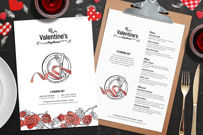 Thumbnail for Valentines Day Menu Template
