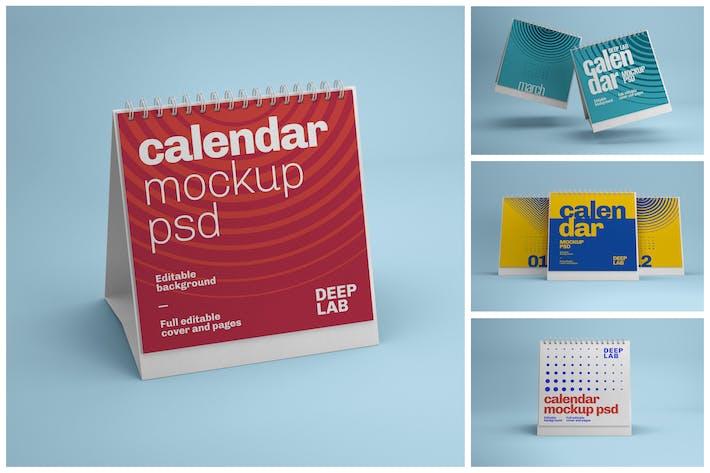 Thumbnail for Square Desk Calendar Mockup Set