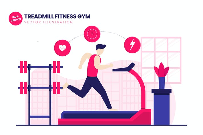 Thumbnail for Treadmill Fitness Gym Flat Vector Illustration