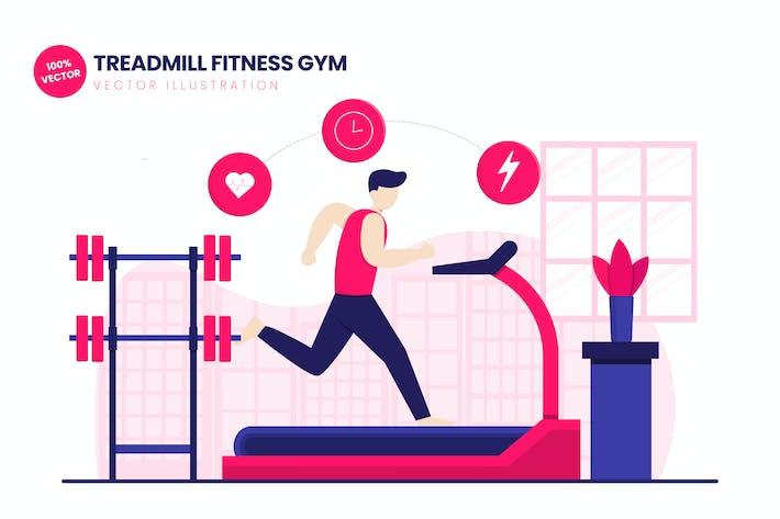 Laufband Fitness Gym Flat Vektor Illustration