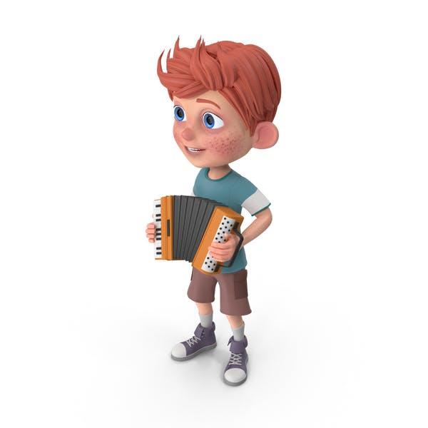 Мультфильм мальчик Чарли играет аккордеон