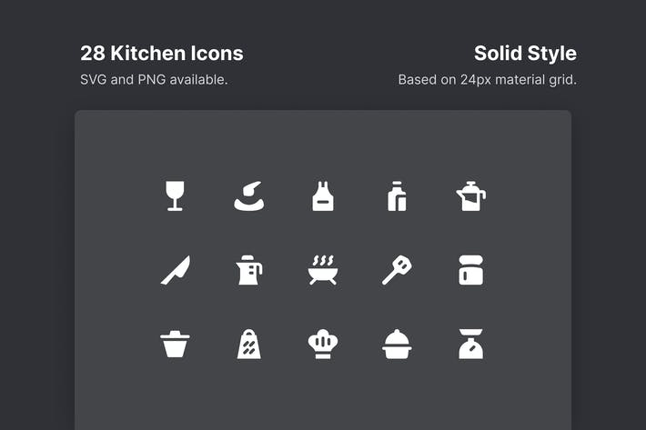 Thumbnail for Kitchen Icons - Solid Style