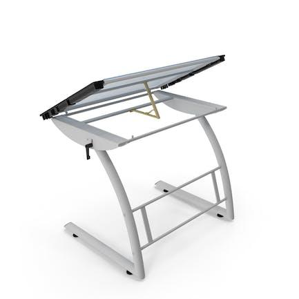 Mesa de dibujo de cristal inclinable, color blanco