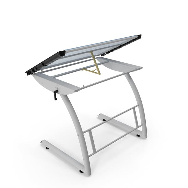 Tiltable Glass Drawing Table White