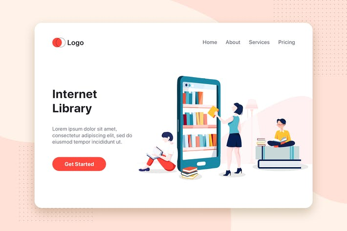 Thumbnail for Internet Library flat concept for Landing page