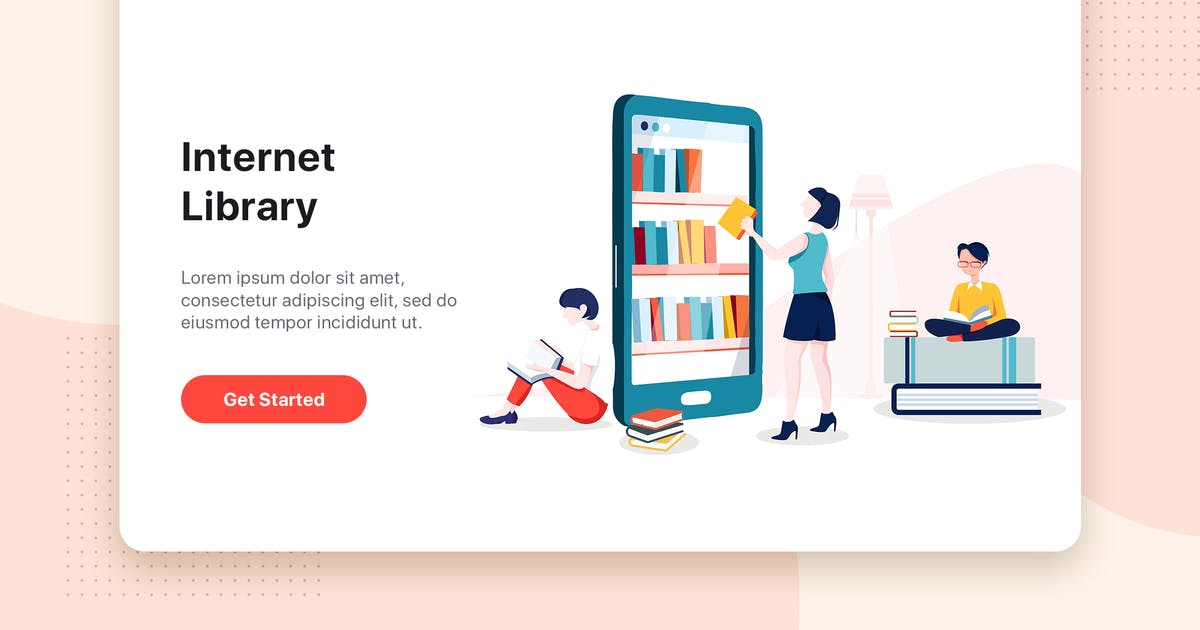 Download Internet Library flat concept for Landing page by hoangpts