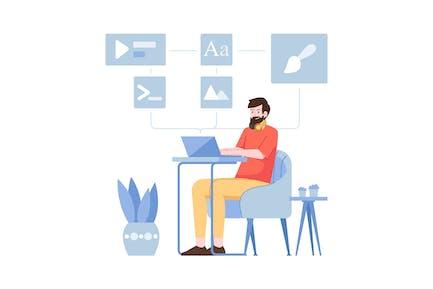 Software computer Flat Illustration